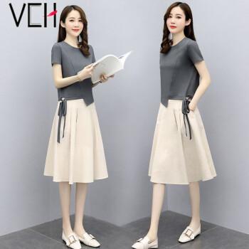 vch套装连衣裙女2021夏季新品时尚休闲文艺宽松显瘦遮