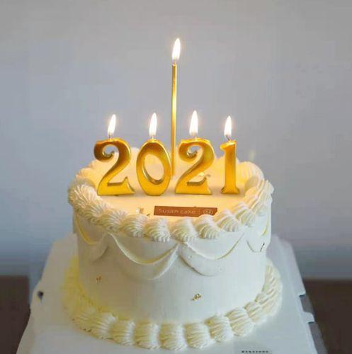 生日蛋糕装饰 2021跨年金色数字蜡烛儿童卡通甜品台