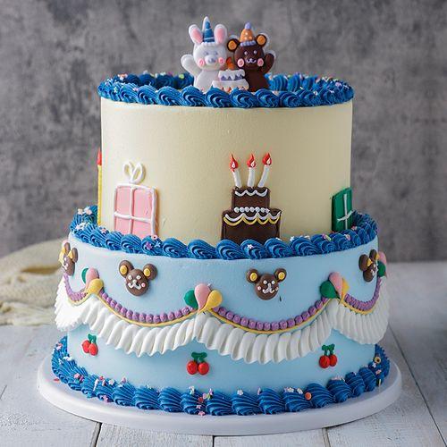 韩式复古双层奶油蛋糕模型仿真2021新款网红生日假