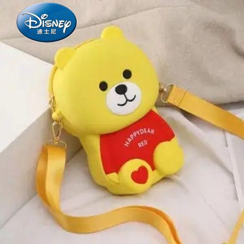 韩版少女生百搭可爱卡通小熊硅胶单肩斜挎手机包 黄色欢乐熊链条款