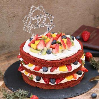 新鲜水果生日蛋糕网红裸蛋糕创意定制全国同城配送上海无锡南京