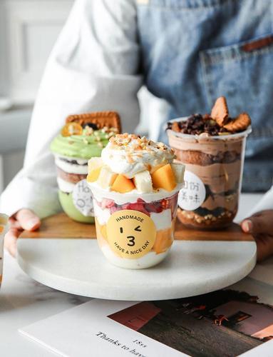 网红木糠杯透明一次性杯子带盖塑料慕斯蛋糕杯酸奶布丁水果捞甜品