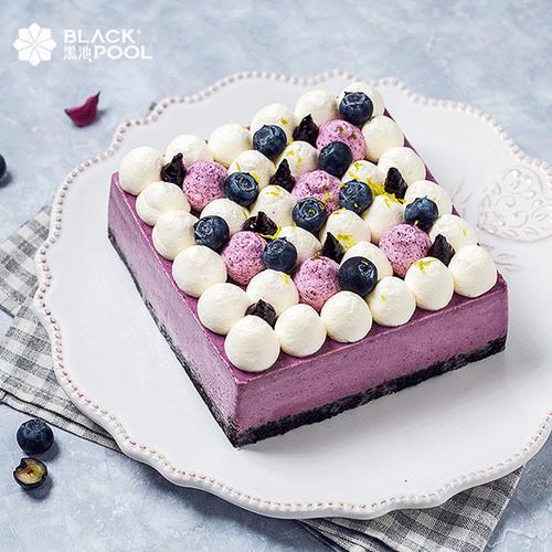 黑池蓝莓芝士慕斯蛋糕网红生日下午茶歇蛋糕深圳广州