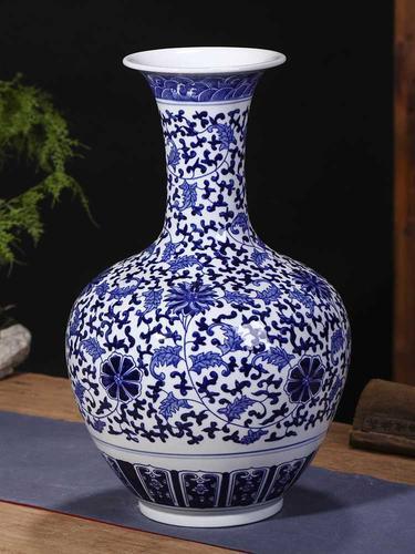 景德镇陶瓷花瓶客厅摆件大号仿古青花瓷瓶新中式家居
