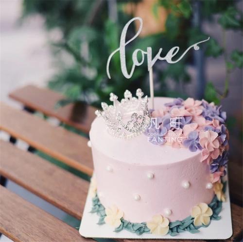 韩式豆沙霜裱花蛋糕之小公主的皇冠