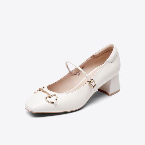 2021年夏季新款简约方头粗跟蝴蝶结浅口正装玛丽珍鞋