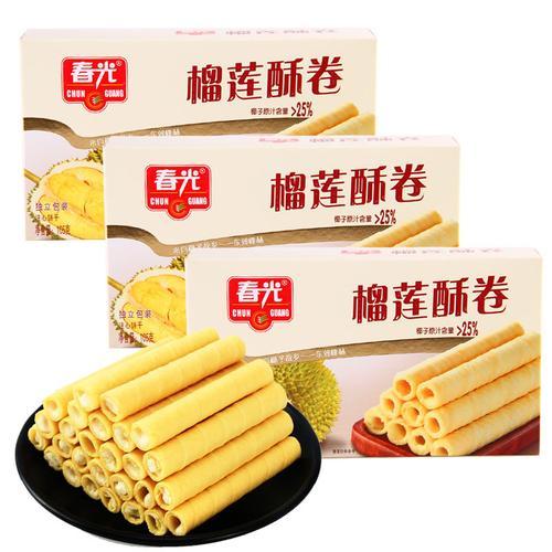 春光椰香酥卷榴莲味105gx3盒注心饼干零食海南特产