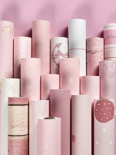 墙纸自粘粉色女孩卧室温馨宿舍防水桌面贴纸网红墙壁纸翻新柜