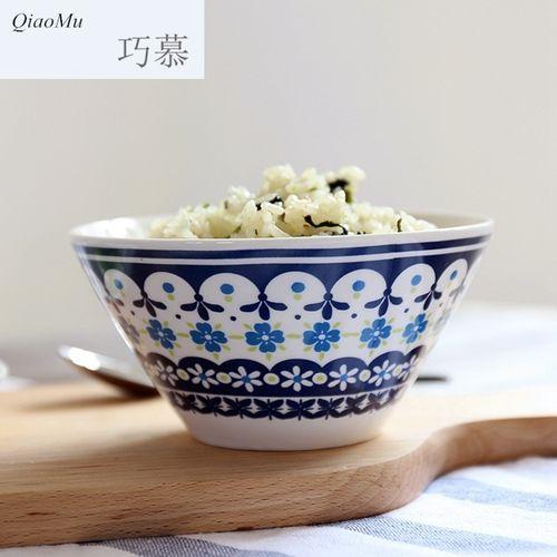 巧慕dc 日韩骨瓷印花米饭碗冷菜盘蛋糕碟点心碟小汤碗