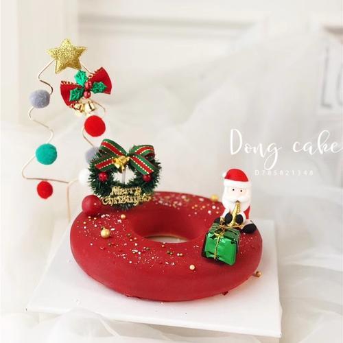 圣诞节蛋糕装饰摆件圣诞老人雪松麋鹿圣诞树插牌圣诞
