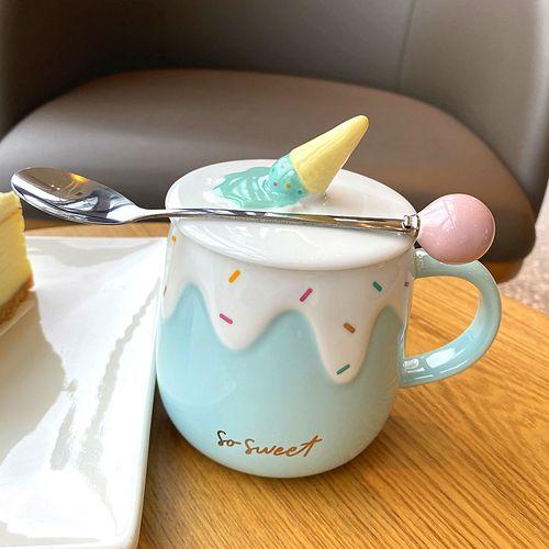 可爱陶瓷杯子少女心蛋糕冰淇淋马克杯带盖学生咖啡杯