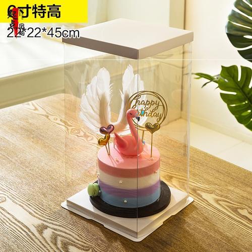 新款透明蛋糕盒手提圆形10/12/14寸四双层包装加高六网红生日杯子