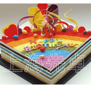 【正品】上海先卓仿真蛋糕模型 塑胶 生日蛋糕模型 方形 彩虹蛋糕