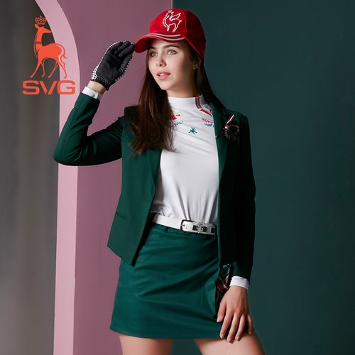 svg高尔夫服装女2021秋学院风收腰v领西服夹克弹力舒适长袖外套 绿色