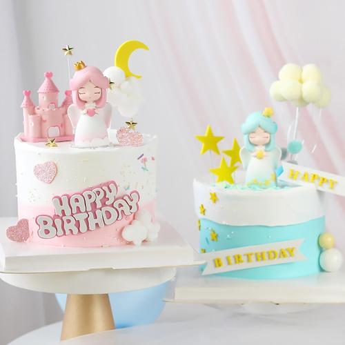 白衣天使女孩生日蛋糕装饰摆件烘焙装饰用品唯美甜品