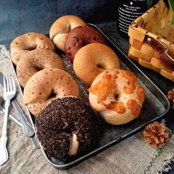 5折 贝果面包无油粗粮健身代餐三明治早餐面包蓝莓贝果 20%全麦黑芝麻