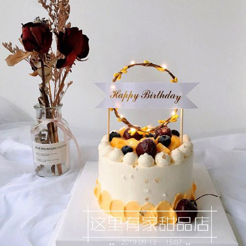 藤蔓蛋糕装饰带led灯创意蛋糕发光插件情侣生日花环花圈插牌
