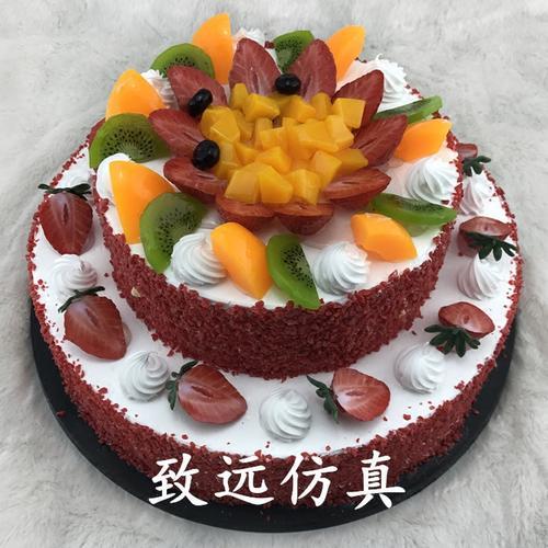 新款双层草莓粒生日仿真蛋糕模型水果仿真蛋糕样品