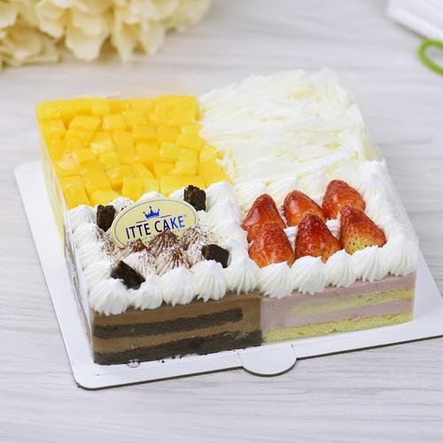 【四味慕斯b】巧克力,草莓,榴莲,芒果多拼慕斯生日蛋糕