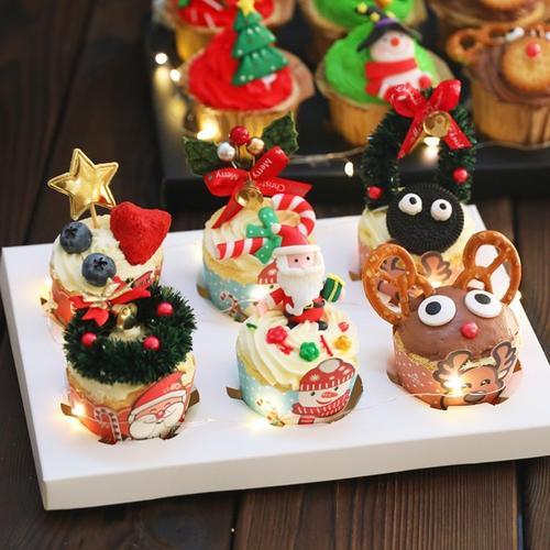 圣诞节纸杯蛋糕托杯子盒装饰马芬杯圣诞老人雪人油