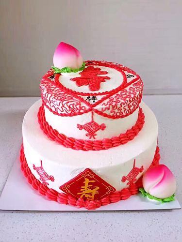 新款时尚祝寿双层蛋糕模型 寿桃生日祝寿仿真精美塑料