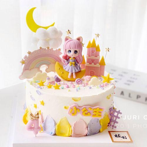 烘焙可爱萝莉女孩星河少女心月亮蛋糕摆件甜品台布置