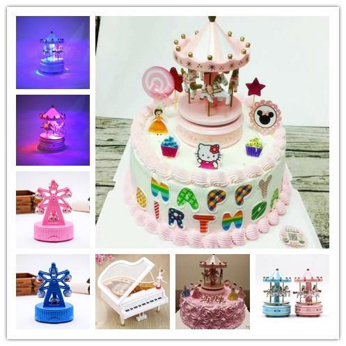 生日蛋糕装饰旋转木马音乐盒 儿童生日蛋糕装饰摆件配件 旋转木马