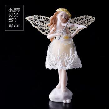 【京选好物】欧式拉小提琴天使花仙子摆件 创意儿童房蛋糕装饰摆设