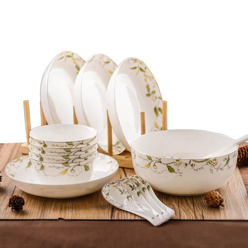 新款14件骨瓷餐具套装家用陶瓷中式碗盘碟套装田园风