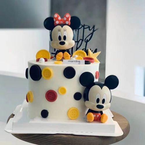 六一儿童节派对烘焙生日蛋糕装饰米奇米妮小孩宝宝娃娃米老鼠摆件