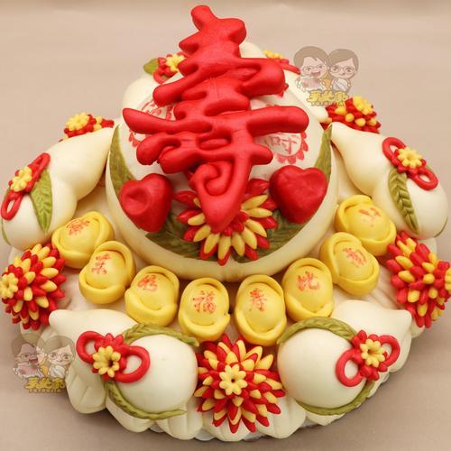 爆款胶东花饽饽大寿桃生日老人寿比南山纯手工面食