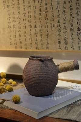 云南煮茶土陶罐侧把小型烤茶罐器土窑柴烧煮茶干炒茶