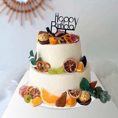 2020仿真生日蛋糕模型网红双层水果森系塑胶定制橱窗