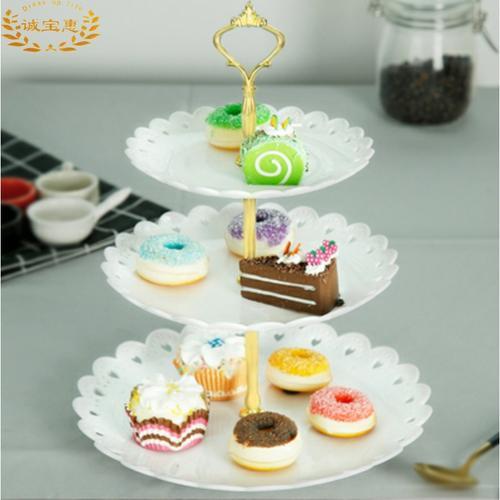 下午茶点心架蛋糕欧式家用塑料双层水果盘三层甜品台