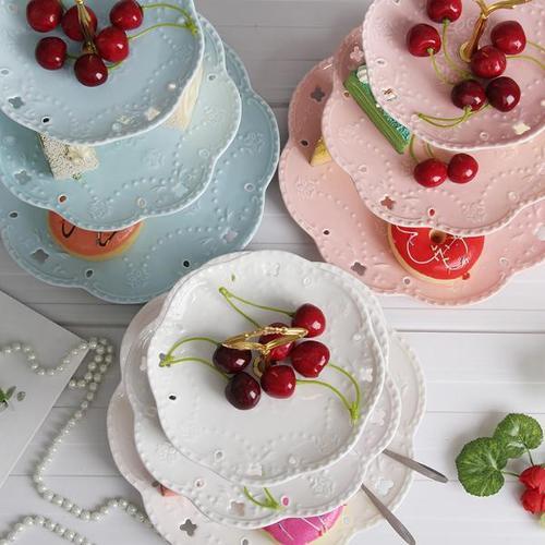 下午茶点心盘法式甜点盘点心盘陶瓷水果盘欧式三层点心盘糖果托盘