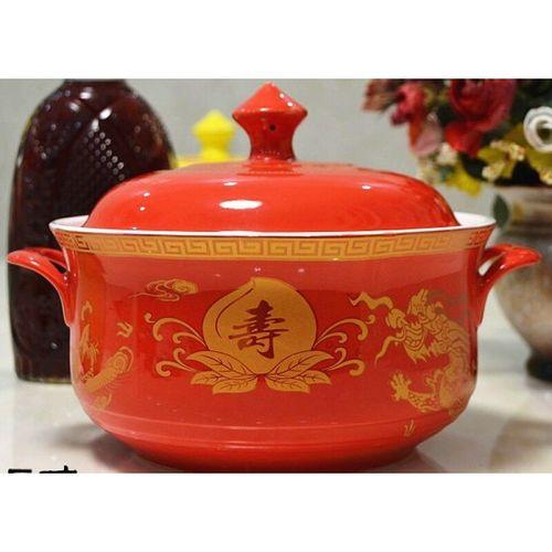 红黄色龙凤带陶瓷盖大汤钵汤碗寿碗寿宴生日碗定制烧寿碗重庆红碗 8.
