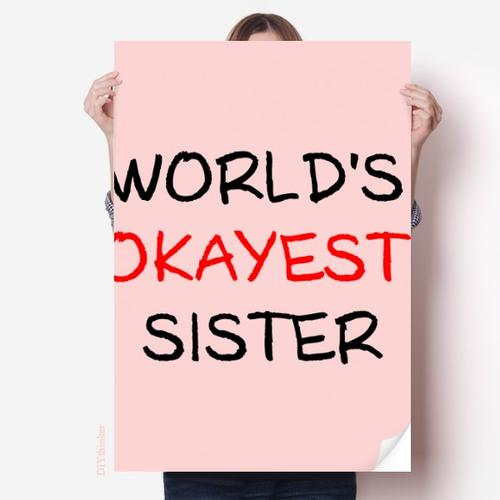 超棒的姐姐英文祝福海报贴纸80x55cm墙贴纸卧室家居