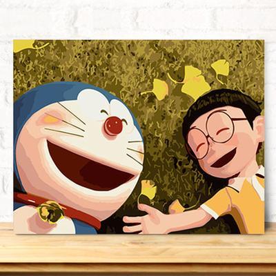 数字油画diy油画 客厅大幅动漫卡通儿童大幅手绘填色 大雄哆啦a梦