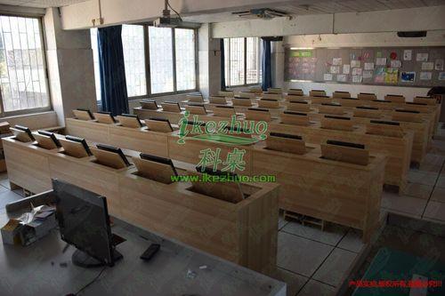 科桌翻转式电脑桌 多媒体教室电脑台式桌 学校机房学生培训课桌
