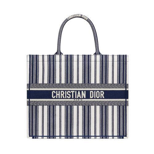 【包税】dior/迪奥 2020新款book tote系列女士蓝色大号绣花条纹帆布