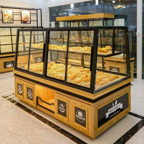 面包柜面包展示柜烘焙店蛋糕模型柜玻璃商用边柜子黄