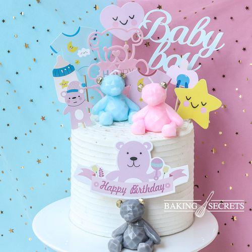 熊蜡烛粉蓝小熊插牌烘焙ins装饰周岁风生日蛋糕几何