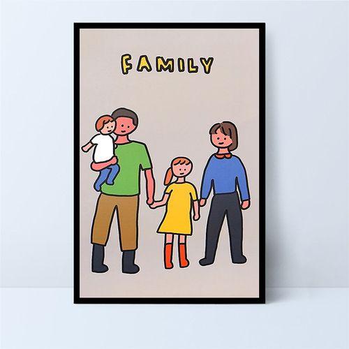 幸福一家人手工填色 diy数字油画卡通家庭温馨插画