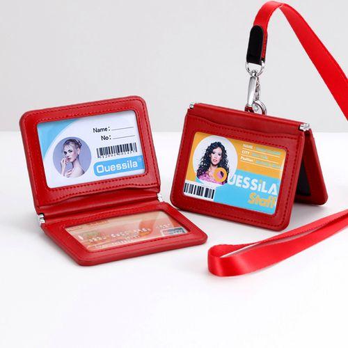工作牌工牌定做校园学生单位出入证公交门禁卡 红色横款4卡位+皮头绳