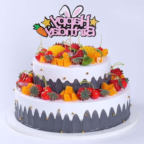 热卖的双层生日蛋糕模型仿真2020新款蛋糕模型塑胶假
