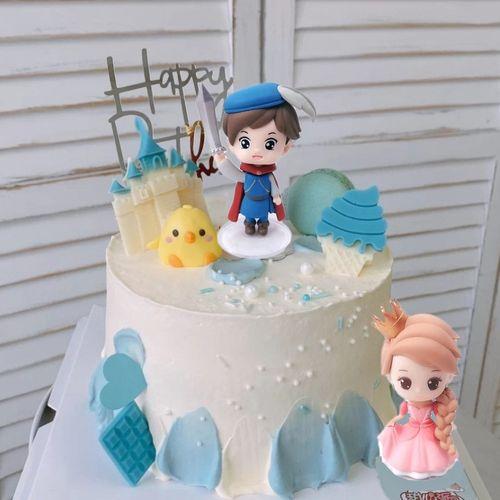 骑士小王子小公主蛋糕装饰摆件女孩儿童生日派对烘焙