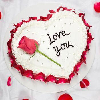 当日送达网红玫瑰花瓣水果生日蛋糕同城配送全国订做节520送男女