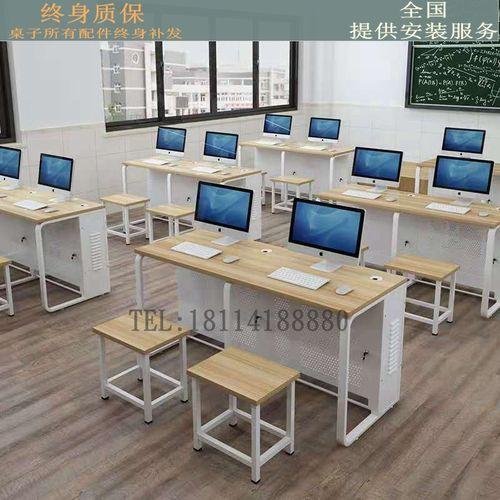学校机房电脑桌台式双人微机室办公桌学生电脑培训班
