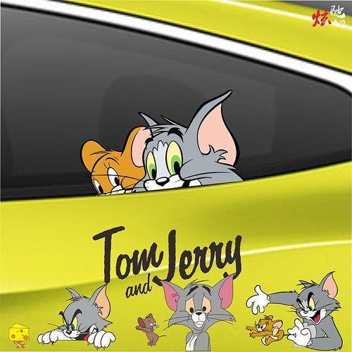 适用猫和老鼠车贴拉花汤姆猫杰瑞鼠车身机盖卡通遮挡
