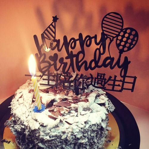 蛋糕烘培装饰情侣创意亚克力一生陪你过生日蛋糕插牌
